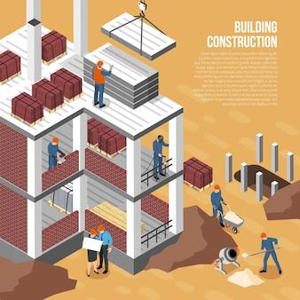 Composición de arquitecto constructor isométrica con imágenes de edificio en construcción personajes humanos y texto editable ilustración vectorial