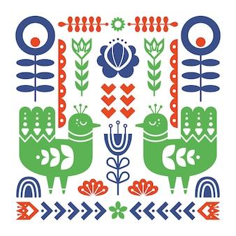 Composición de arte popular con aves y elementos florales.