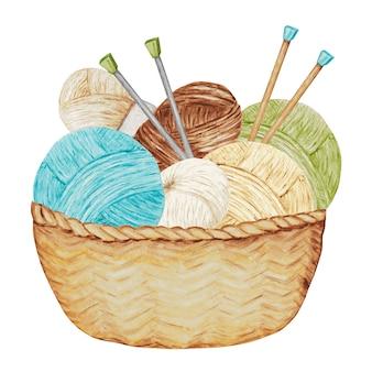 Composición artesanal de hilados de bolas en cesta de mimbre con agujas. pasatiempo. ilustración con iconos de bola de hilo