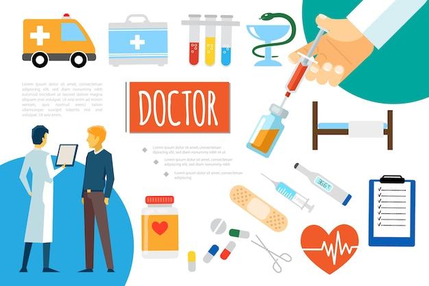 Composición de atención médica plana