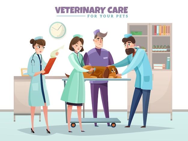 Composición de atención veterinaria con médicos veterinarios durante la inspección del perro elementos interiores planos