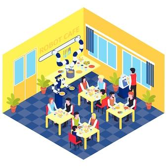 Composición de automatización de robots con vista del interior del café robotizado con personas en mesas servidas por robots ilustración vectorial