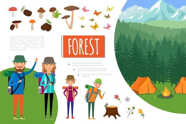 Composición de aventura en el bosque plano
