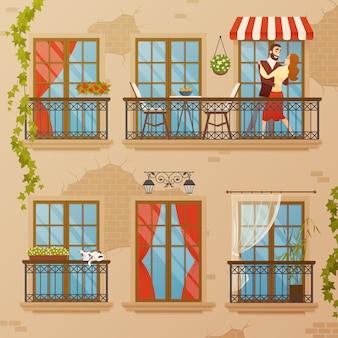 Composición de balcones de ventana clásica