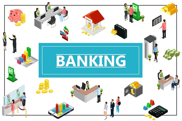 Composición de la banca isométrica con la construcción de monedas de dinero seguro de barras de oro calculadora cajero automático hucha recepcionista cajero consultor gerentes clientes en marco