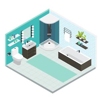 Composición de baño interior de color isométrico con reparación terminada o diseño de reparación