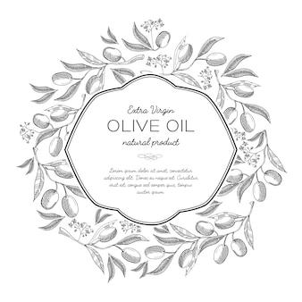 Composición de boceto de corona redonda de aceite de oliva con hermosos brotes e inscripción