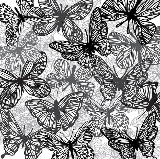 Composición de boceto a mano de mariposa y flor.