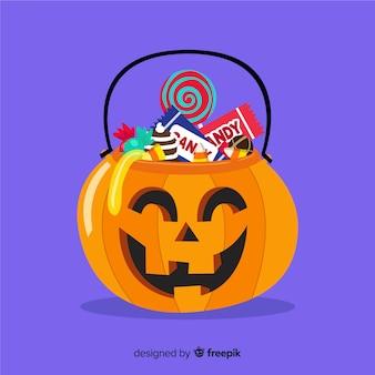 Composición bolsa de caramelos de halloween en diseño plano