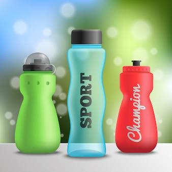 Composición de botellas de atleta deportivo