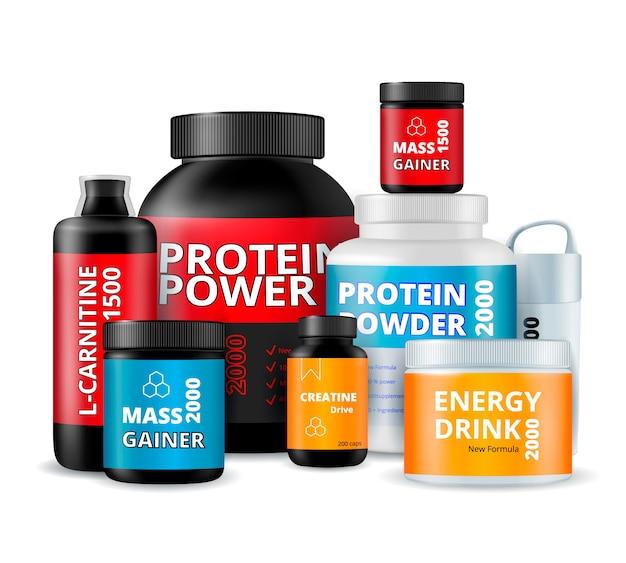 Composición de botellas de suplementos de fitness