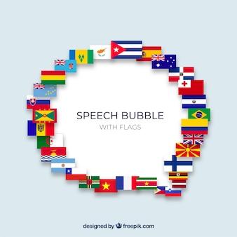 Composición burbuja de texto con diferentes banderas
