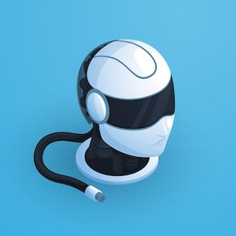 Composición de la cabeza del robot con casco de alta tecnología estilo blanco y negro con auriculares y cable desenchufado ilustración vectorial