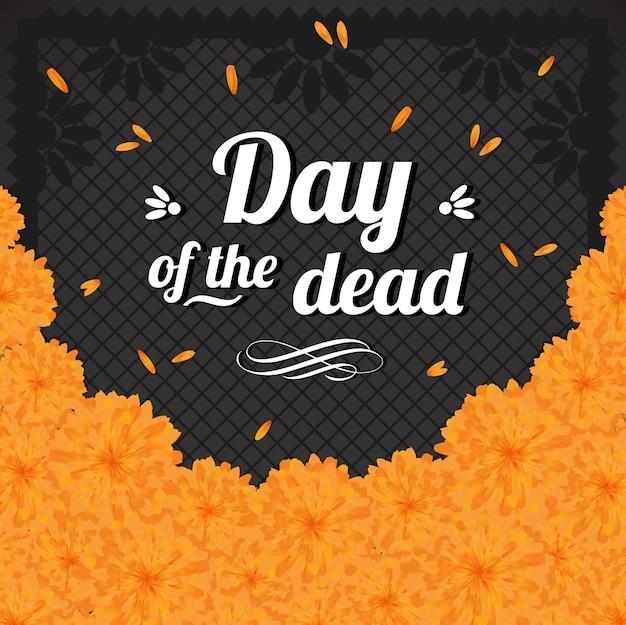 Composición de caléndula floral del día de los muertos