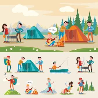 Composición de camping itinerante