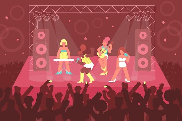 Composición de cantante de conciertos de imágenes planas y personajes de miembros de la banda de chicas que interpretan música en el escenario