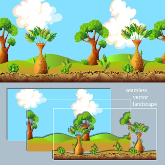 Composición de capas separadas de paisaje de dibujos animados