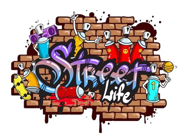 Composición de los caracteres de la palabra graffiti.
