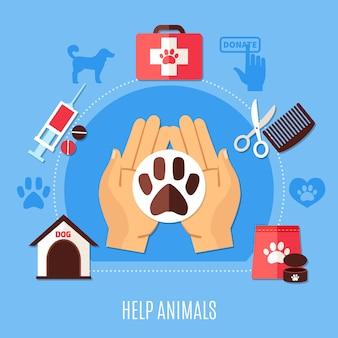 Composición de caridad con pictogramas de silueta de pugmarks de perro e iconos de medicamentos veterinarios y manos humanas