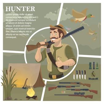 Composición de caza plana con cazador bigotudo sosteniendo escopeta patos voladores cuchillos de armas linternas trampa botella campamento