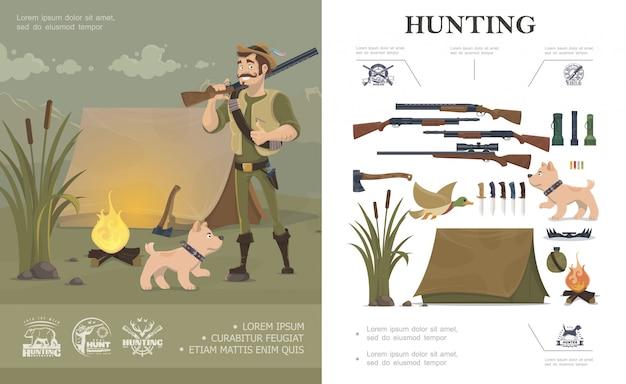 Composición de caza plana con cazador y perro cerca de carpas emblemas arma linternas pato hacha balas trampa botella hoguera