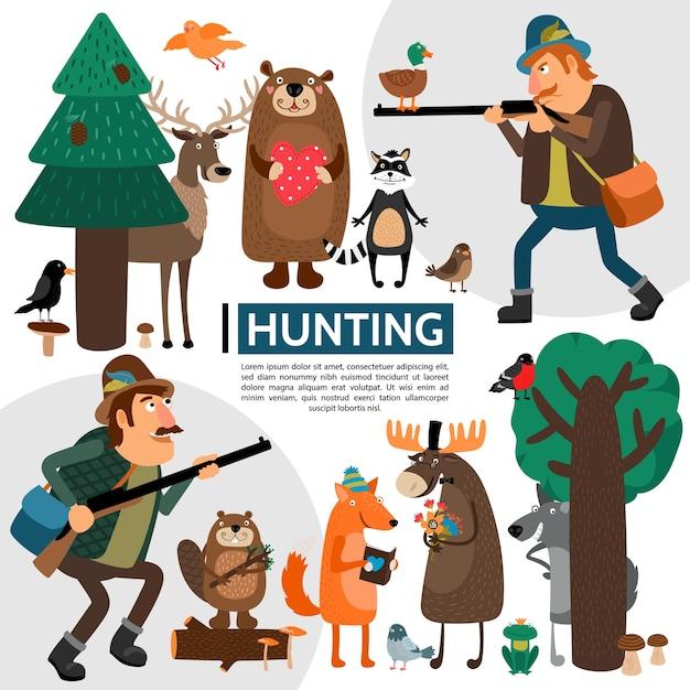 Composición de caza plana