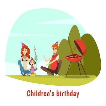 Composición de celebración de cumpleaños de niños