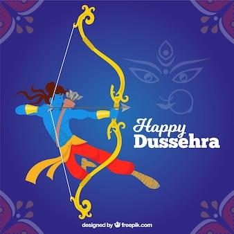 Composición de celebración de dussehra dibujada a mano