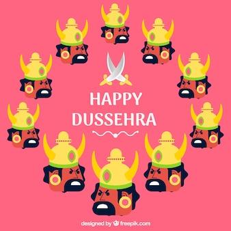 Composición de celebración de dussehra con diseño plano