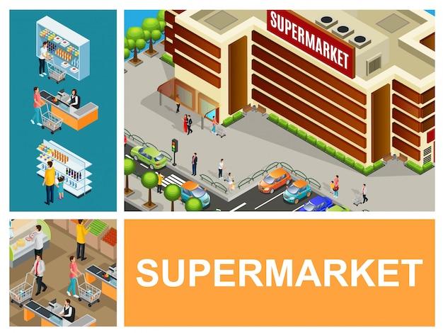 Composición del centro comercial isométrica con supermercado construyendo autos en cajeros de estacionamiento clientes empujando carros en la sala del hipermercado
