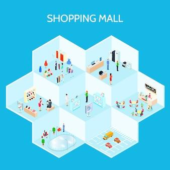 Composición de centro comercial isométrica