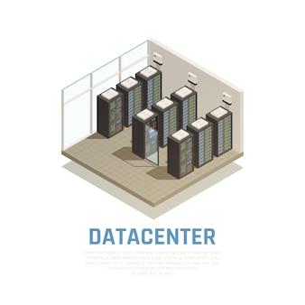 Composición del centro de datos con almacenamiento de información y símbolos de base de datos isométricos