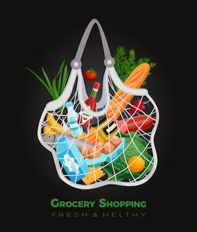 Composición de la cesta de la bolsa de la compra con texto editable y productos comestibles dentro de la bolsa de hilo con red flexible