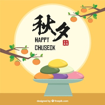 Composición de chuseok dibujada a mano