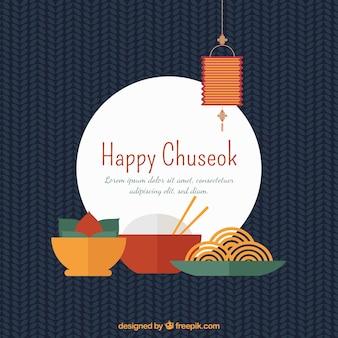 Composición de chuseok con diseño plano