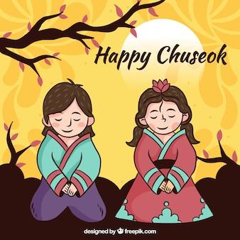Composición de chuseok moderna con estilo adorable