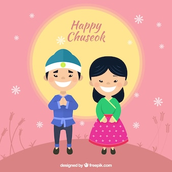 Composición de chuseok con pareja feliz