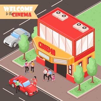 Composición de cine de cine isométrica con vista al aire libre de la calle de la ciudad con coches personas y teatro edificio ilustración