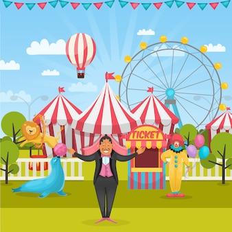 Composición de circo al aire libre