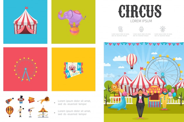 Composición de circo plano con mago payaso acróbata hombre fuerte animales entrenados rueda de la fortuna carruseles carpas entradas cañón