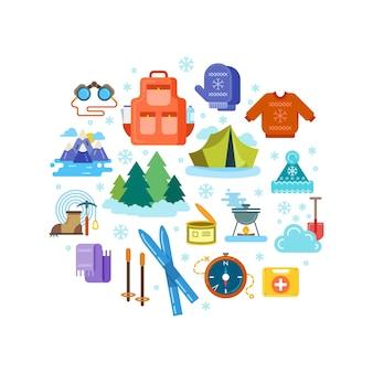 Composición del círculo de iconos planos de senderismo de invierno