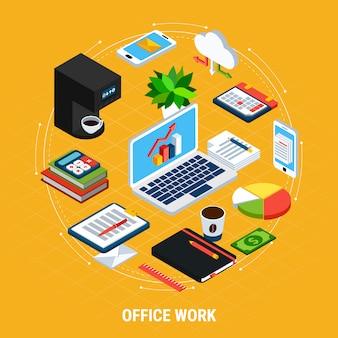 Composición de círculo isométrico de personas de negocios de imágenes aisladas e iconos con máquinas de oficina de contabilidad y equipo ilustración vectorial