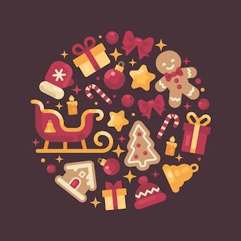 Composición de círculo rojo y oro hecha de elementos de navidad y año nuevo