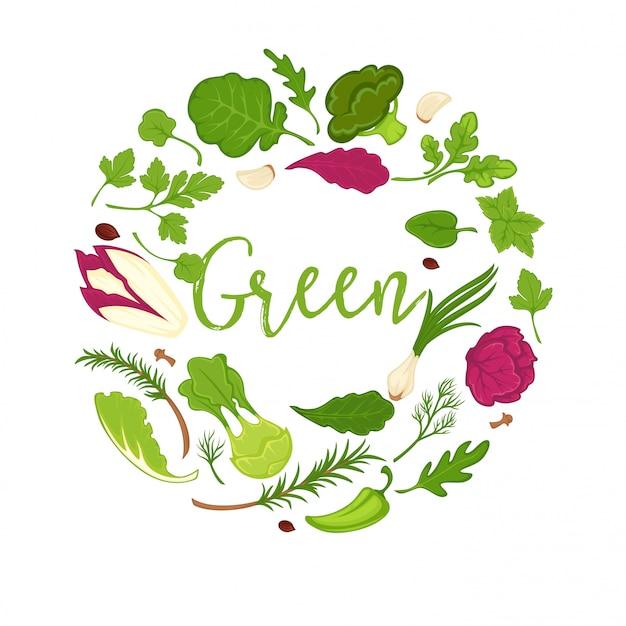 Composición del círculo de verduras, ensaladas y verduras verdes