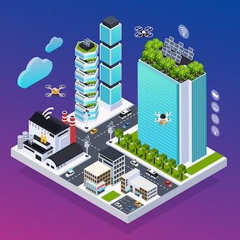 Composición de ciudad inteligente con tecnología ecológica, ilustración vectorial isométrica