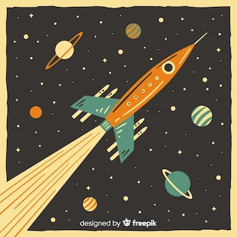 Composición clásica de cohete espacial con estilo vintage