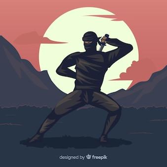 Composición clásica de ninja con diseño plano