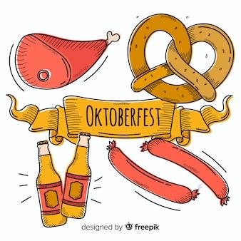 Composición clásica de oktoberfest dibujada a mano