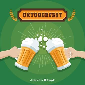 Composición clásica de oktoberfest con diseño plano