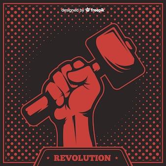 Composición clásica de revolución con estilo grunge